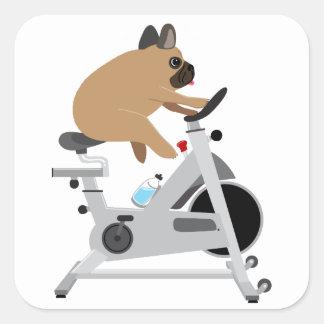 Tröttad hund fyrkantigt klistermärke