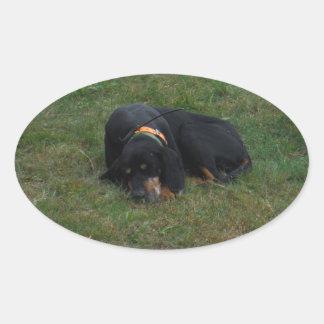 Tröttad hund ovalt klistermärke