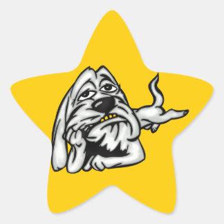 Tröttad hund stjärnformat klistermärke