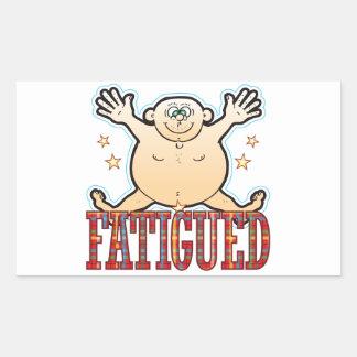 Tröttad ut fet man rektangulärt klistermärke
