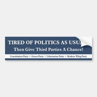 Tröttat av politik som vanligt - blått bildekal