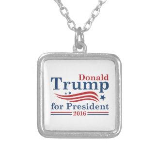 Trumf för president silverpläterat halsband