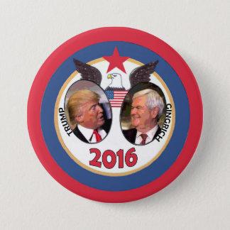 Trumf/Gingrich 2016 Mellanstor Knapp Rund 7.6 Cm