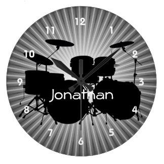 Trumma designväggen tar tid på stor klocka