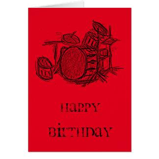 Trumma födelsedagen för satsrockbandgrunge hälsningskort