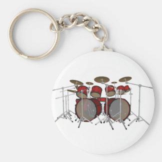 Trummar: Rött trumma satsen: 3D modellerar: Rund Nyckelring