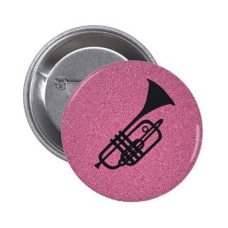 Trumpetsilhouettetecknaden knäppas standard knapp rund 5.7 cm