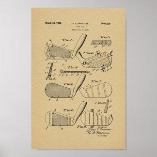 Tryck 1936 för konst för vintagegolfklubbpatent poster