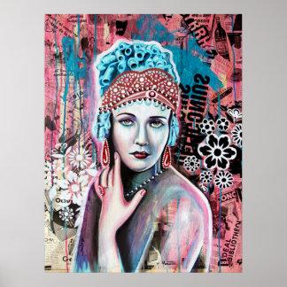 Tryck av den Cristal drottningen, konstverk av Cla Poster