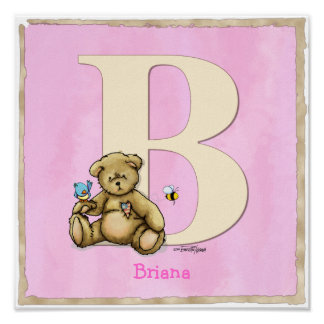 Tryck för ABC för björnrosaaffisch
