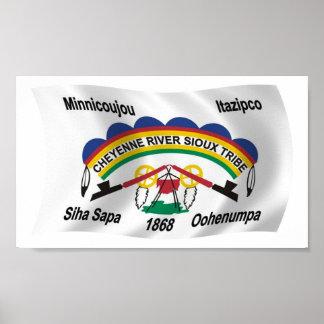 Tryck för affisch för Cheyenne flodSioux flagga