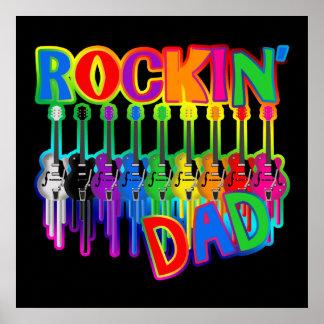 Tryck för affisch för gitarrer för Rockin pappa bl