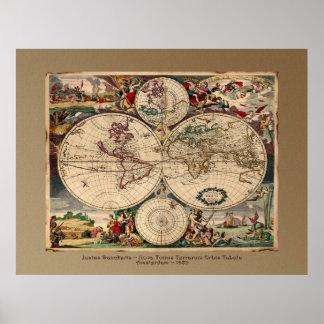 Tryck för affisch för karta Justus Danckerts för g Poster