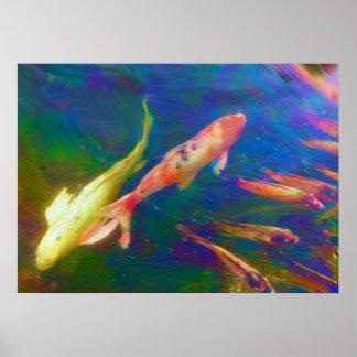 Tryck för affisch för Koi fiskmålning Poster