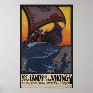 Tryck för annons för Vikings vintage resoraffisch  Print