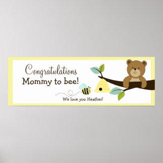 Tryck för baner för baby shower för honungbjörn be poster