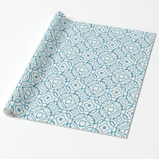 Tryck för blåttvattenfärgQuatrefoil kvarter Presentpapper