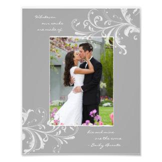 Tryck för blom- mall för grå färgvit fotografiskt konstfoto