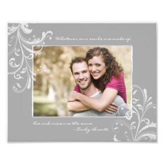 Tryck för blom- mall för grå färgvit fotografiskt