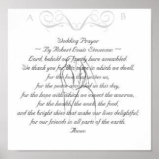 Tryck för bröllopbönminnessak poster