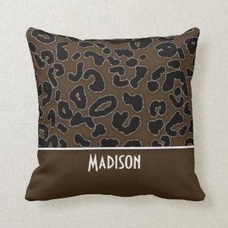 Tryck för brun Leopard för mörk djurt; Personlig Kudde