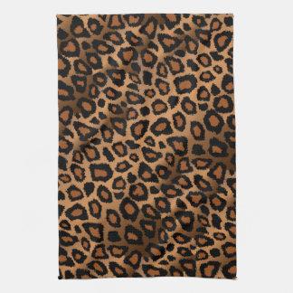 Tryck för brun Leopard för Safari djurt Kökshandduk