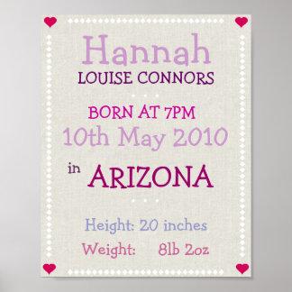 Tryck för flickapersonligfödelsedatum poster
