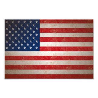 Tryck för foto för amerikanska flaggan för stil fö