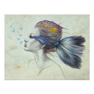 Tryck för foto för kvinnafisk overklig konst