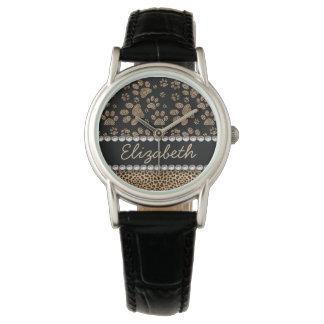 TRYCK för FOTO för Rhinestone för Leopardfläcktass Armbandsur
