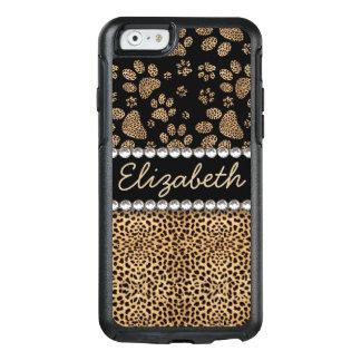 TRYCK för FOTO för Rhinestone för Leopardfläcktass OtterBox iPhone 6/6s Skal