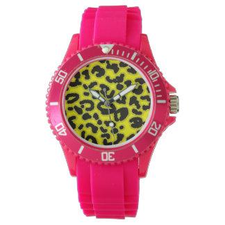 Tryck för gul Leopard för elkraft djurt Armbandsur