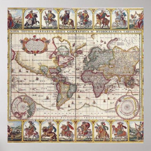 Tryck för karta för gammal värld för vintage antik affisch