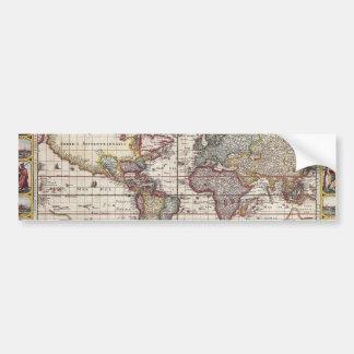 Tryck för karta för gammal värld för vintage antik bildekaler