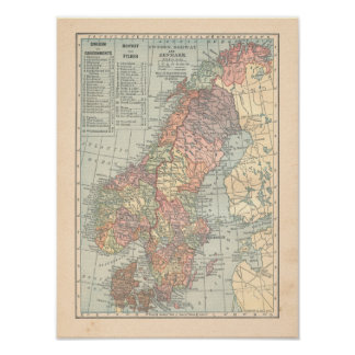 Tryck för karta för sverigenorgeDanmark vintage