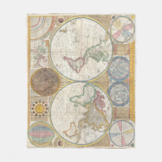 Tryck för karta för vintagenavigeringvärld fleecefilt
