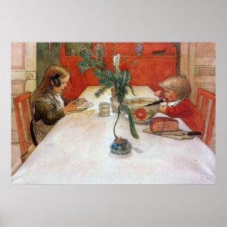 Tryck för konst för affisch för Carl Larsson afton