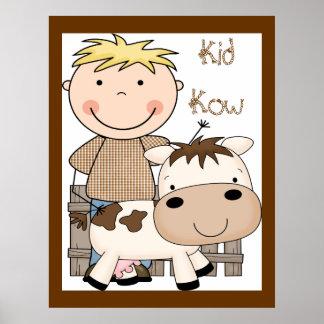 Tryck för konst för affisch för ko för unge för la
