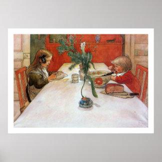 Tryck för konst för Carl Larsson aftonmål Posters