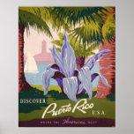 Tryck för konst för Puerto Rico vintage resoraffis Affisch