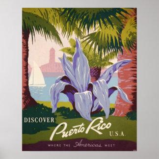 Tryck för konst för Puerto Rico vintage resoraffis Poster