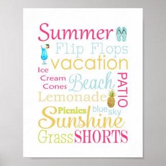 Tryck för konst för sommartypografivägg