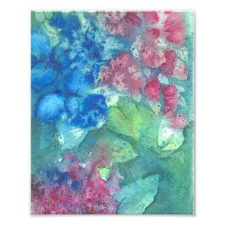 Tryck för konst för vanlig hortensiavattenfärg blo fototryck