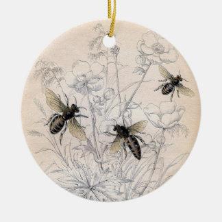 Tryck för konst för vintagehonungbi julgransprydnad keramik