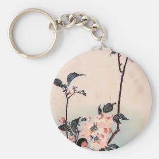 Tryck för körsbärsröd blommar för Finch japanskt Rund Nyckelring