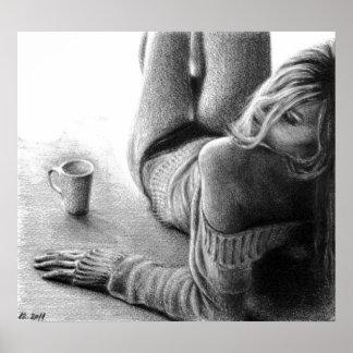 Tryck för kvinna- och morgonkaffegrafitaffisch