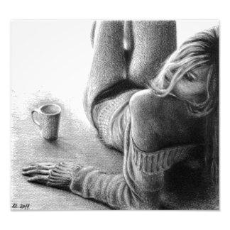 Tryck för kvinna- och morgonkaffegrafitfoto