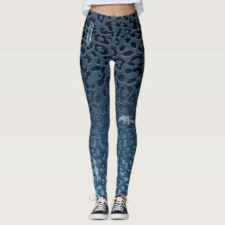 Tryck för Leopard för Ombre DenimJean blått Leggings