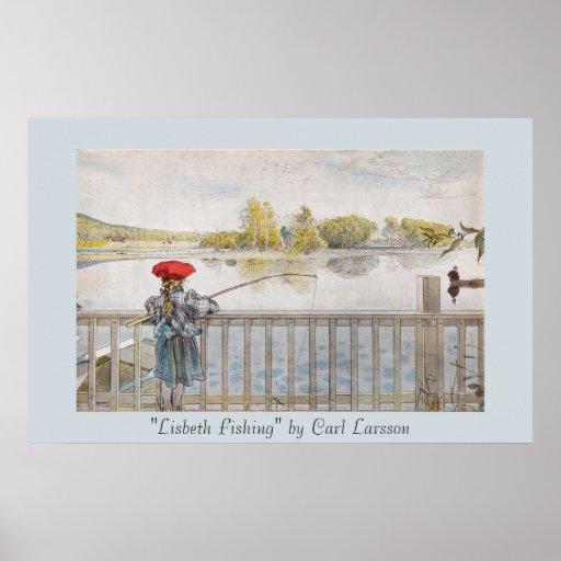 "Tryck ""för Lisbeth fiske"" Carl Larsson konst Posters"