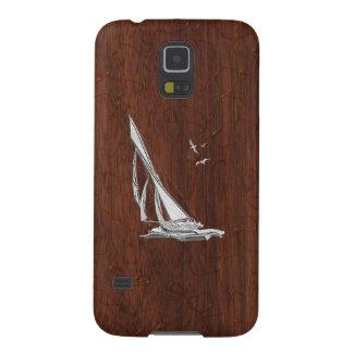 Tryck för mahogny för kromsegelbåtonWet Galaxy S5 Fodral
